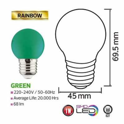 1W GRÖN LED LAMPA - RAINBOW