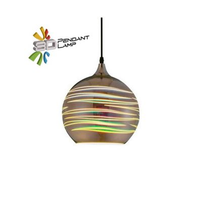 3D GLASS PENDANT ROOF LAMP KROM E27 1M LASER (SPHERE)