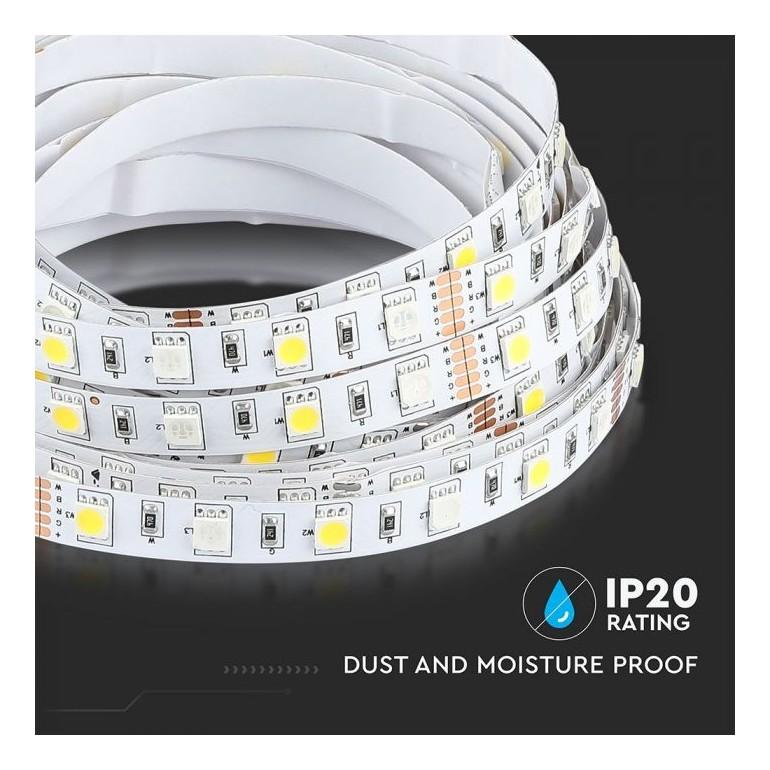 LED STRIP RGB+White 10.8Wmeter 60 SMD IP20 5 METER 12V VT 5050