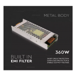 360W LED SLIM POWER SUPPLY 12V 30A IP20 VT-21360