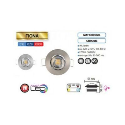 LED-SPOTLIGHT 1W MATCHROME DOWNLIGHT WARM WHITE 2700K 220V FIONA