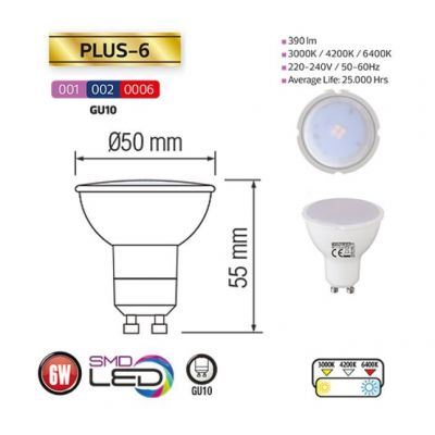 LED SPOTLIGHT 6W GU10 6400K 100-250V PLUS-6