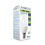 E14 4W PLASTIC LED CANDLE BULB 6400K EQ-WATTS: 30 VT-1818
